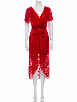 Alice + Olivia Printed Long Dress w/ Tags Red