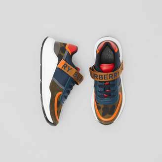 Burberry Logo Detail Leopard Print and Leather Sneakers