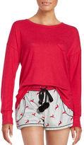 Kensie Fleece Eye Mask, Long-Sleeve Top and Shorts Pajama Set