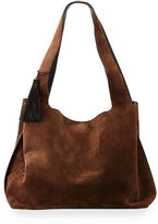 The Row Duplex Suede Satchel Bag, Chocolate