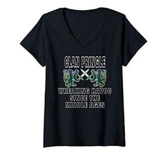 Pringle Womens Scottish Tartan Scotland Family Clan Name V-Neck T-Shirt