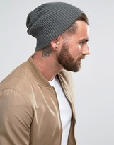 Asos Slouchy Beanie In Gray