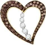 DazzlingRock Collection 0.51 Carat (ctw) 10k Yellow Gold Round & White Diamond Ladies Heart Pendant