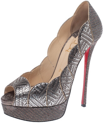 Christian Louboutin Silver Leather And Glitter Fabric Torsatoe Peep Toe Platform Pumps Size 39
