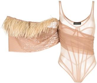 David Koma Net And Feather Bodysuit