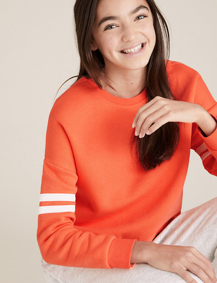 Marks and Spencer Organic Cotton Sporty Coral Stripe Sweatshirt