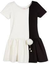 Zoë Ltd Short-Sleeve Colorblock Fit-and-Flare Dress, Ivory, Size 2-6X
