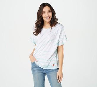 Peace Love World Tie-Dye Drop Shoulder Ruffle Sleeve T-Shirt