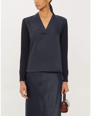 Ted Baker Hiniaa V-neck stretch-knit and satin jumper