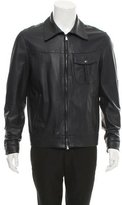 Isaia Leather Zip-Up Jacket