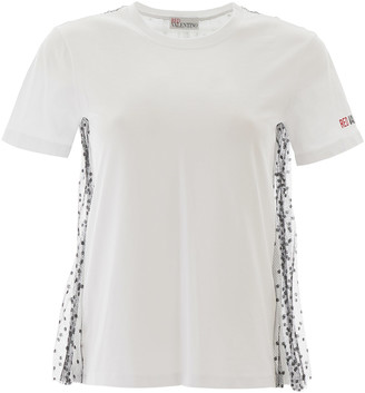 RED Valentino T-SHIRT WITH PLUMETIS TULLE M White, Black Cotton