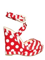 Ballin 140mm Polkadot Canvas Wedge Sandals