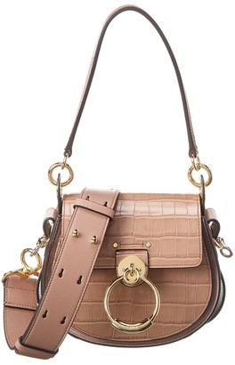 Chloé Tess Large Croc-Embossed Leather & Suede Shoulder Bag