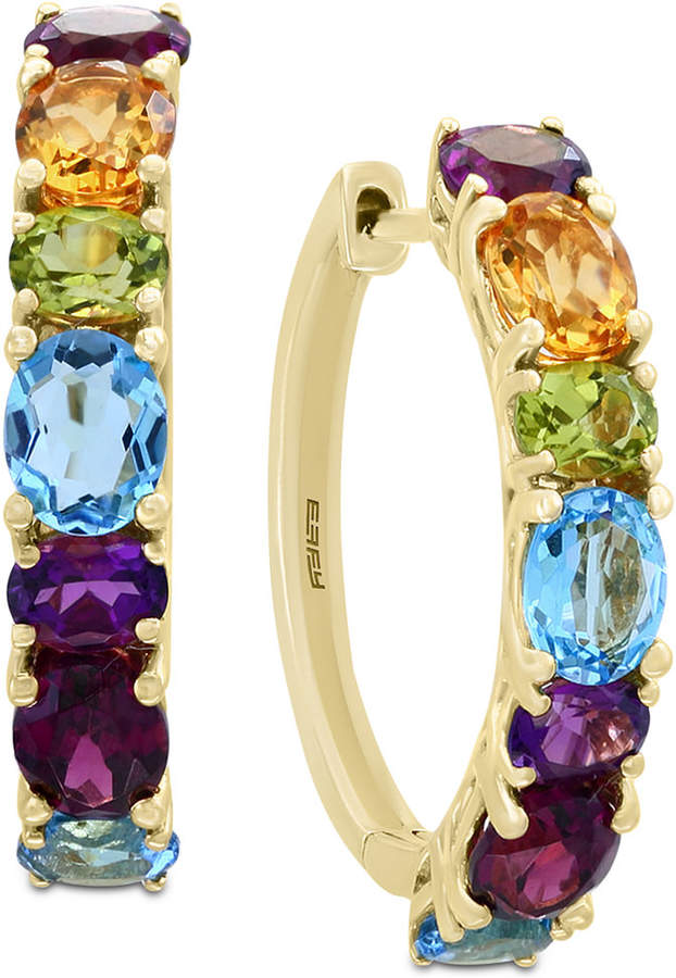Effy Mosaic by Multi-Gemstone Hoop Earrings (4 ct. t.w.) in 14k Gold