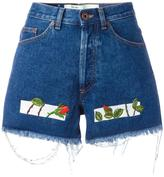 Off-White embroidered denim shorts - women - Cotton/Polyester - 26