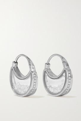 Moritz Glik 18-karat Gray Gold Palladium, Sapphire Crystal And Diamond Earrings - Silver