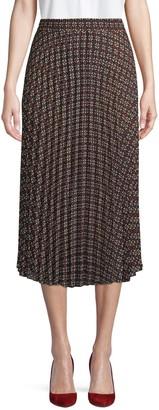 Max Studio Printed Pleated Midi Skirt