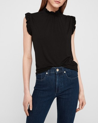 Express Ruffle Mock Neck Tank