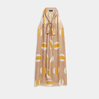 Theory Glass Silk Halter Scarf Dress