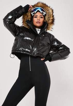 Missguided Msgd Ski Tall Black High Shine Faux Fur Puffer Jacket