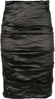 Nicole Miller Ruched Midi Skirt