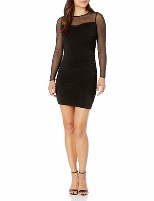 Calvin Klein Women's Petite Long Sleeve Bandage Dress with Illusion Neckline
