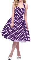 BI.TENCON Women's Retro 1950s Style Red Polka Dot Halter Fit and Flare Cotton Dress S