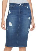 JLO by Jennifer Lopez Women's Destructed Denim Midi Pencil Skirt