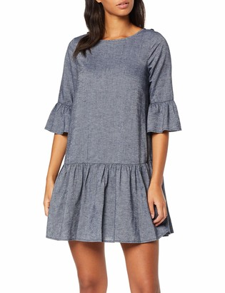 Yargıcı Yargc Womens 9YKEL7101X Frills Round Collar 3/4 Sleeve Dress - Blue - 10