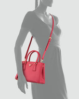 Prada Saffiano Double-Zip Mini Crossbody, Pink (Peonia)