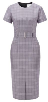 HUGO BOSS Checked Dress With Belt In Virgin Wool - Patterned