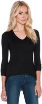 ATM Anthony Thomas Melillo Long Sleeve V Neck Rib Shirt