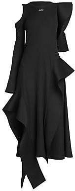 Off-White Women's Asymmetric One-Sleeve Ruffle Knit Dress
