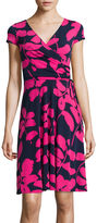 Liz Claiborne Cap-Sleeve Floral-Print Fit-and-Flare Dress