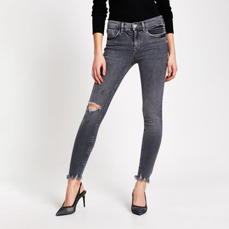 River Island Womens Grey ripped Amelie super skinny jeans