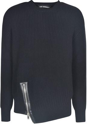 Les Hommes Asymmetric Zip Round Neck Sweater