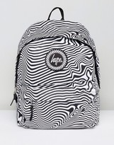 Hype Backpack In Black With Warped Stripes