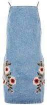 Topshop MOTO Denim Embroidered Dress