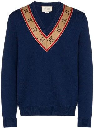 Gucci V-neck GG motif sweater