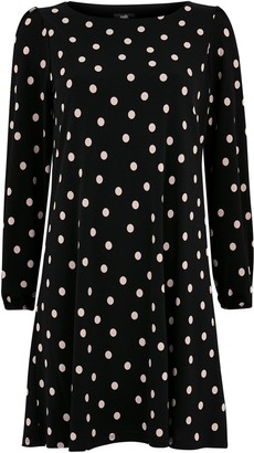 Wallis PETITIE Black Polka Dot Swing Dress