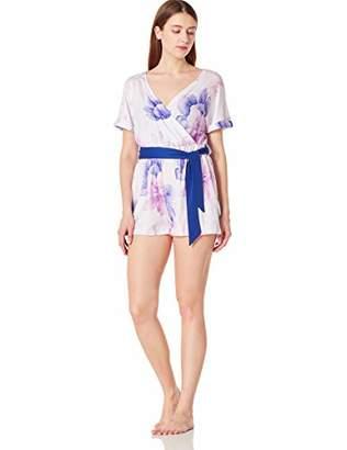 Selene Women's Soft Wrap Pajama Romper Short Sleeve Sleepwear with Drawstring Green Printed S