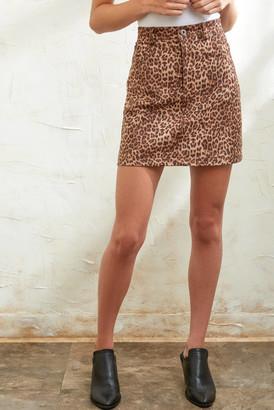 BB Dakota Here Kitty Leopard Faux Suede Skirt Brown 2