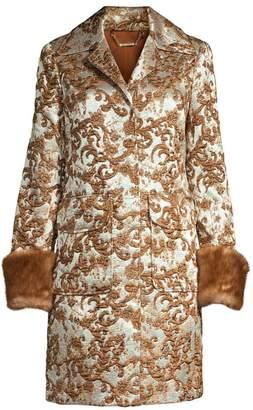 Elie Tahari Sampson Matelasse Jacquard Fur Cuff Coat