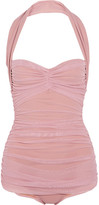 Norma Kamali Bill Mio Ruched Stretch-tulle Swimsuit - Pastel pink