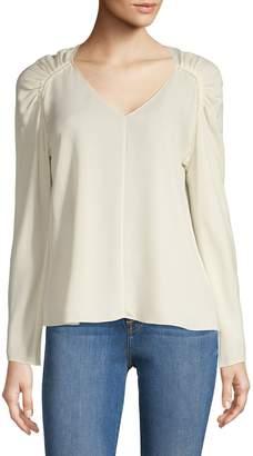 Theory Shirred Shoulder Long-Sleeve Shirt