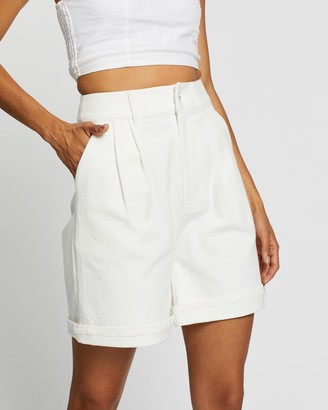 AERE - Women's White High-Waisted - Longline Organic Cotton Shorts - Size 6 at The Iconic