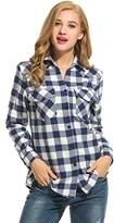 Asatr Women's Roll Up Sleeve Loose Classic Plaid Shirt Button Down Blouse