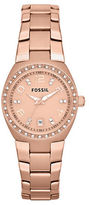 Fossil Ladies Rose Goldtone and Crystal Watch