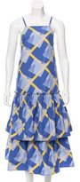 Suno Printed Pleated Dress