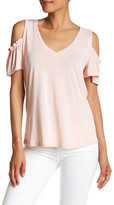 Harlowe & Graham Short Sleeve V-Neck Cold Shoulder Tee